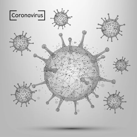Abstract line and point coronavirus cell. Low poly Immunology, new strain epidemic, infection pathogen concept vector illustration. Abstract polygonal image of COVID-19 2019-nCoV