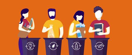 Bundle of cute funny people putting rubbish in trash bins, dumpsters or containers. Set of happy men and women practicing garbage collection, sorting and recycling. Flat cartoon vector illustration.
