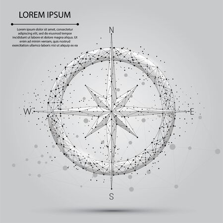 Abstract line and point compass icon. Low poly style design vector illustration
