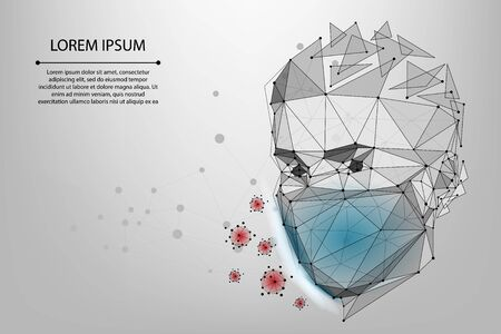 Abstract line and point man in protective face mask. Polygonal protection against viruses of coronavirus, bacteria, smog, COVID-19. Low poly vector illustraion of protection against the flu.