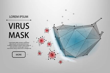 Abstract line and point protective face mask. Polygonal protection against viruses of coronavirus, bacteria, smog, COVID-19. Low poly vector illustraion of protection against the flu.