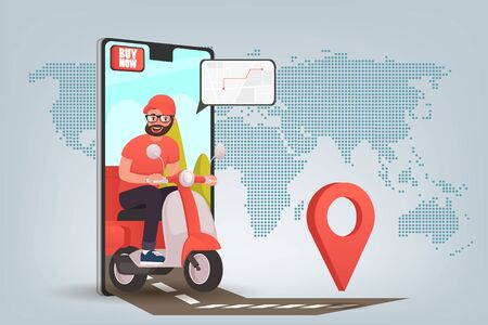 Scooter with delivery man flat vector cartoon character. Fast courier. Restaurant food service, mail delivery service, a postal employee the determination of geolocation using electronic device