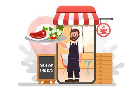 Waiter with delivery food from restaurant flat vector cartoon character. Fast courier. Restaurant food service the determination of geolocation using electronic device