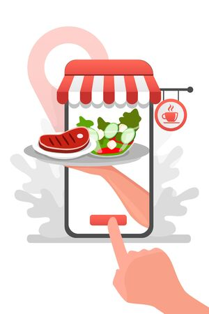 Waiter hand from the phone with delivery food from restaurant flat vector cartoon. Fast courier. Restaurant food service the determination of geolocation using electronic device Vettoriali