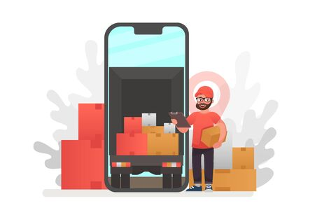 Online delivery service concept, online order tracking. Delivery home and office. City logistics. Warehouse, truck, forklift, courier, delivery man, on mobile. Vector illustration