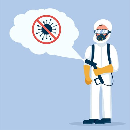 Man in hazmat. Protective suit, gas mask and gas cylinder for disinfection coronavirus COVID-19. Illustration