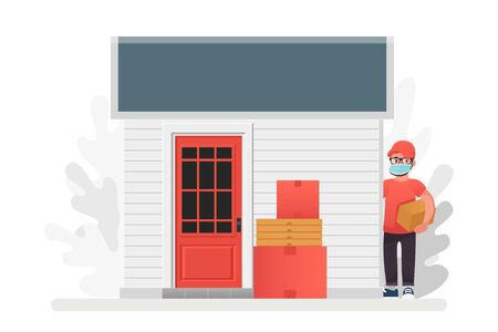 Vector illustration No contact delivery. Entrance and shipping boxes. Illustration