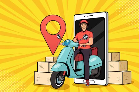 Scooter with delivery man. Restaurant food service, mail delivery service.