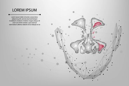 Abstract mesh line and point Sinusitis. Low poly Healthy and inflammation nasal sinus. Polygonal vector illustration Vettoriali