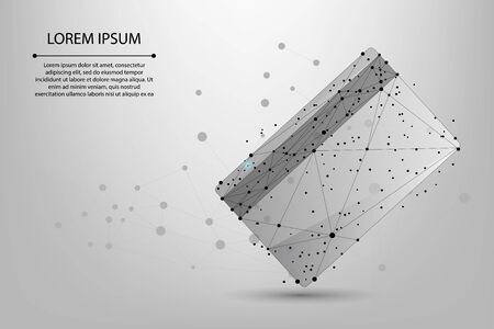 Abstract mesh line and point polygonal credit card. Online payment concept. Low poly wireframe vector illustration.