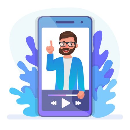 Video tutorial watching. Online lecture, Internet course, digital lesson. Bearded hipster cartoon character. Video call, seminar, remote education. Vector illustration.