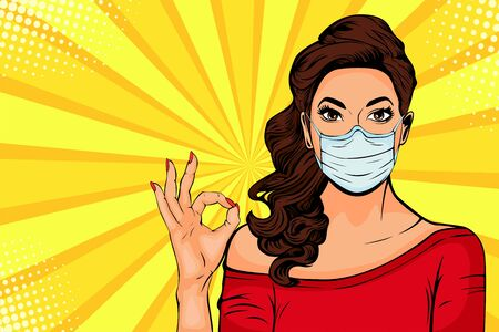 Woman in protective face mask. Protection against viruses of coronavirus, bacteria, smog, COVID-19. Pop art retro comic style vector illustration.