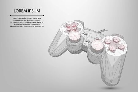 Abstract mesh line and point gamepad for video games. Low poly joystick illustration. Vector polygonal concept of computer games.
