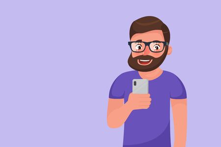 Bearded hipster cartoon character social media browsing using his phone. Smiling happy man using smartphone device. Flat style character vector illustration Ilustração