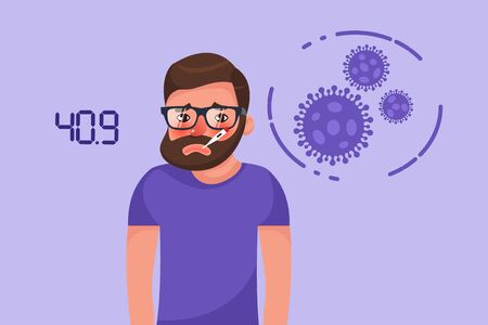 Cartoon hipster bearded young man with coronavirus fever symptom. Flat style character vector illustration