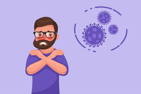 Cartoon hipster bearded young man with coronavirus chills symptom. Flat style character vector illustration Vettoriali