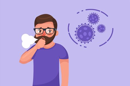 Cartoon hipster bearded young man with coronavirus dry cough symptom. Flat style character vector illustration