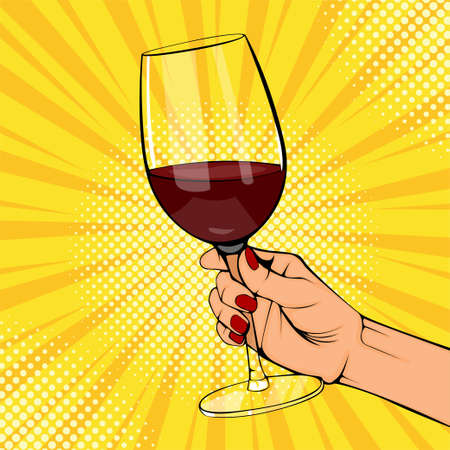 Pop art old vintage poster female hands hold red wine glass. Woman hand with beverage. Retro design sound speech bubble. Holiday party wow event. Festive vector radial halftone background. 일러스트