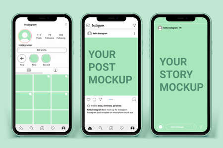 post template for profile and feed stories on smartphone. Social media mockup ui ux template layout Premium Vector