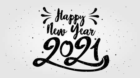 Happy Typographical 2021 New Year. Vector retro Illustration With Lettering Composition And Burst. Holiday vintage festive label Stock Illustratie