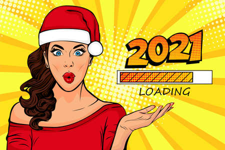 Waiting for new year. Brunette girl looking at 2021 loading process. Pop art retro comic style vector illustration.