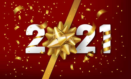 2021 Happy New Year vector background with golden gift bow and confetti. Christmas celebrate design