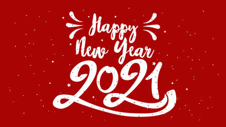 Happy Typographical 2021 New Year. Vector retro Illustration With Lettering Composition And Burst. Holiday vintage festive label 일러스트