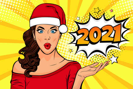 Waiting for new year. Brunette girl looking at 2021. Pop art retro comic style vector illustration. 일러스트