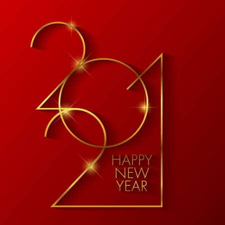 Golden 2020 New Year logo. Holiday greeting card illustration. Holiday design for greeting card, invitation, calendar, etc. Stock Illustratie
