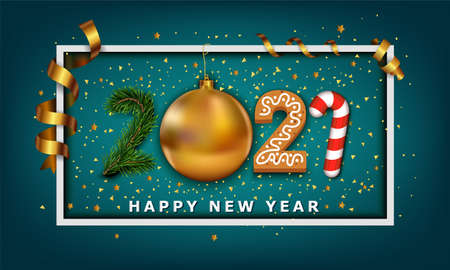 Vector Happy New Year background. 2021 number made from golden christmas ball bauble, stripes elements, cookie, candy and christmas tree Stock Illustratie