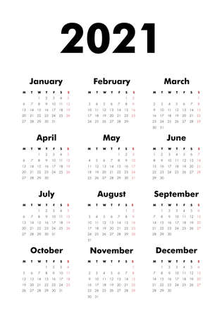 Vector Calendar on 2020 year. Week starts Monday. Stationery calender template in minimal design. Yearly organizer. Business illustration.