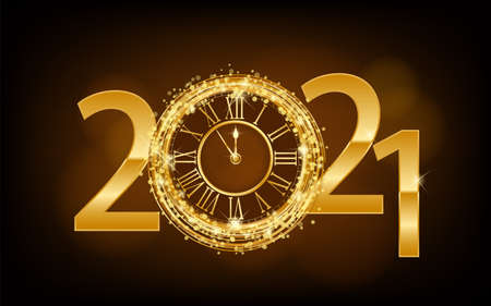 Happy New Year 2021 - New Year Shining background with gold clock and glitter ilustration