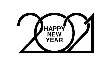 Happy New Year 2021 logo text design. Brochure design template, card, banner. Vector illustration of Cover of business diary for 2020