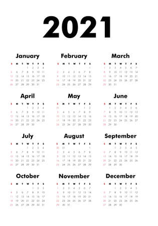 Vector Calendar on 2020 year. Week starts Sunday. Stationery calender template in minimal design. Yearly organizer. Business illustration. Ilustração