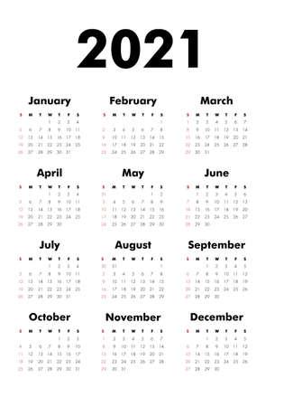 Vector Calendar on 2020 year. Week starts Sunday. Stationery calender template in minimal design. Yearly organizer. Business illustration. Stock Illustratie