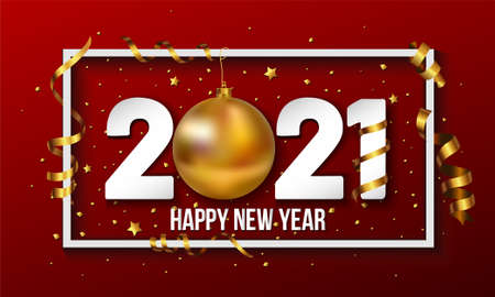 Vector 2021 Happy New Year background with golden christmas ball bauble and stripes elements Stock Illustratie