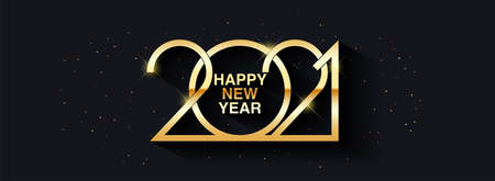 Happy New Year 2021 text design. Vector greeting illustration with golden numbers. Merry christmas and happy new year 2021 vector greeting card and poster design.