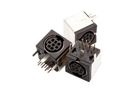 standard steel: black socket on over white background. close up.