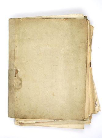 Cartella di molto vecchio atto isolato su fogli bianchi  Archivio Fotografico