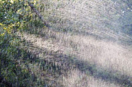 sputter: sun beams through water splashes
