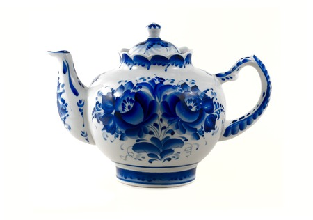 cs:  white  brewing teapot  decorated with blue patterns isolated on white