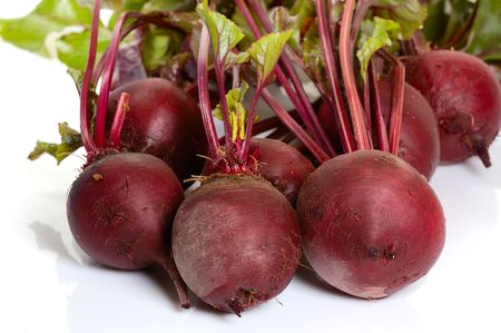 bunches of beets  isolated on white