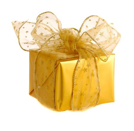 gold  gifts with transparent golden ribbon and bow Stock Photo