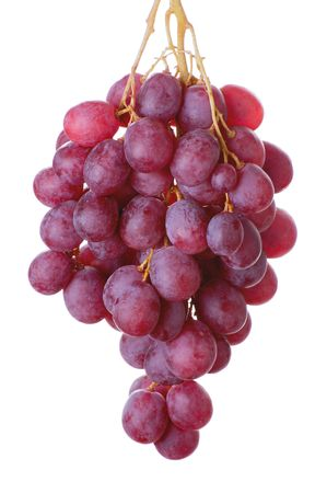 bunch of  red cardinal grapes isolated on white Stock Photo - 2314572