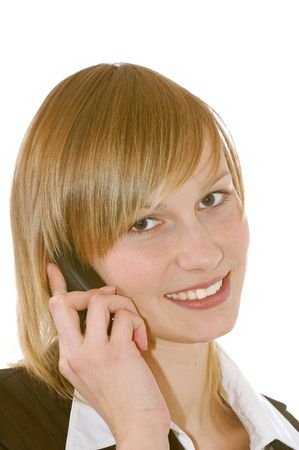 educating: beautiful  smilling girl with phone isolated on white