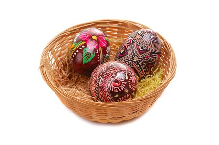 tradional: easter small basket with decorative eggs