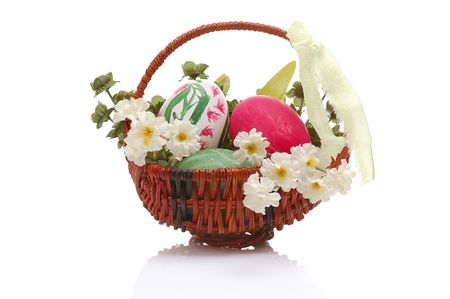 tradional: decorated easter small basket with eggs