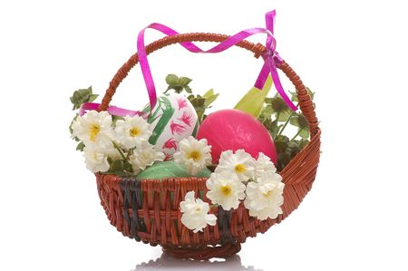 tradional: decorated easter basket with eggs Stock Photo