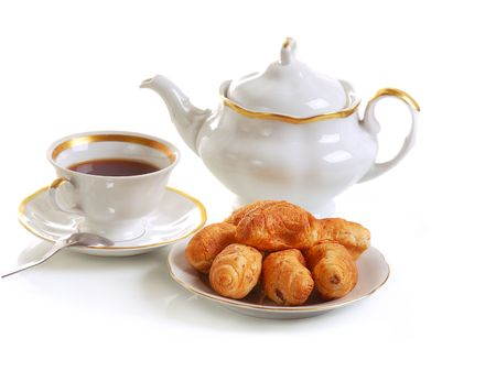 cup of tea and croissants on white