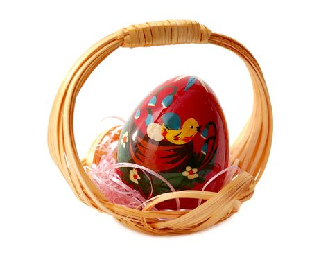 easter small basket with painted egg photo